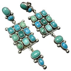 "3"" Long FINEST Vintage Navajo Sterling Silver TURQUOISE Cluster Dangle EARRINGS"