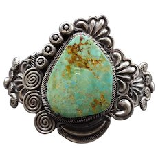 Vintage Navajo Stamped & Repoussé Sterling Silver & TURQUOISE Cuff Bracelet