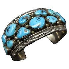 Vintage Navajo Sterling Silver BRILLIANT Blue Arizona Turquoise Cuff BRACELET