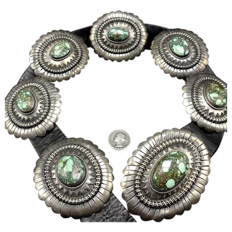 ORVILLE TSINNIE Vintage Navajo Sterling Silver DAMELE Turquoise Concho Belt