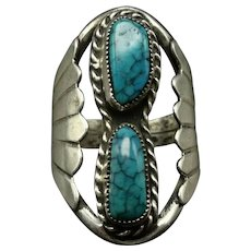 Vintage Navajo Sterling Silver TURQUOISE with SPIDERWEB Matrix Ring size 9