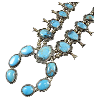 Classic Vintage Navajo Sterling Silver & Turquoise SQUASH BLOSSOM Necklace 198g