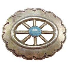 Vintage Navajo Heavy Hand Stamped Ingot Sterling Silver & Turquoise BELT BUCKLE