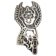 Signed Vintage Hopi Sterling Silver Overlay EAGLE Dancer Kachina PIN/BROOCH