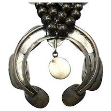 Vintage Navajo Sterling Silver Orange Spiny Oyster Shell SQUASH Blossom Necklace