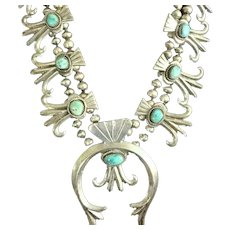 IMPRESSIVE Vintage Navajo Cast Sterling Silver Turquoise Squash Blossom Necklace