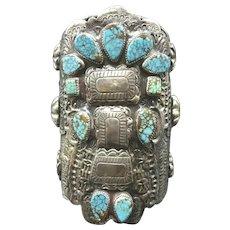Vintage OSCAR BETZ Navajo Sterling Silver #8 Turquoise KACHINA Cuff Bracelet