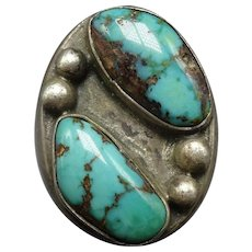 Heavy Vintage Navajo Sterling Silver & TURQUOISE Signet Ring, size 9.25, 27.5g