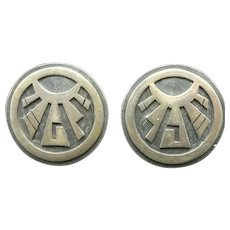 Vintage Hopi Round Sterling Silver Overlay CLIP-ON Earrings by Ross Joseyesva