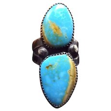 Signed Vintage Navajo Sterling Silver & Easter Blue TURQUOISE RING, size 8.75