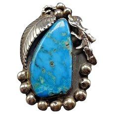 Huge Vintage Navajo Sterling Silver & Brilliant Blue TURQUOISE RING, size 7.75