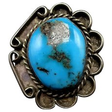 Vintage Navajo Sterling Silver & Gorgeous Blue Morenci TURQUOISE Ring, size 6.5