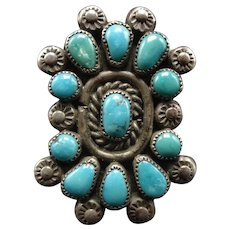 Vintage Navajo Sterling Silver & TURQUOISE Cluster Ring size 8.25, circa 1940s