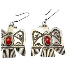 Old Style Navajo Hand Stamped Sterling Silver & CORAL Thunder Bird EARRINGS