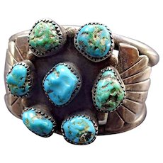 Heavy Signed Vintage Navajo Sterling Silver & Turquoise Cluster Cuff BRACELET