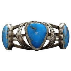 Gorgeous Vintage Signed Sterling Silver & Blue Morenci TURQUOISE Cuff BRACELET