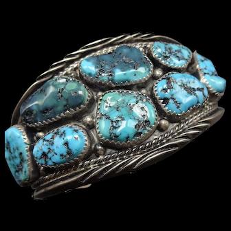 Vintage Navajo Sterling Silver & Kingman TURQUOISE Cluster Cuff BRACELET 79.8g