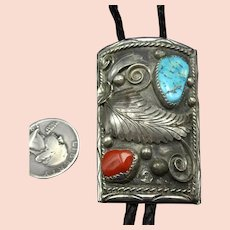 Vintage Navajo Sterling Silver Coral TURQUOISE Bolo Tie, Leather Cord 925 Tips