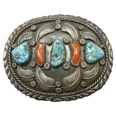 HIGHLY Detailed Vintage Navajo Sterling Silver Coral and Turquoise BELT BUCKLE