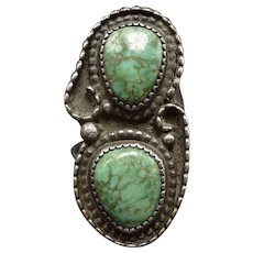 Old Vintage Navajo Sterling Silver & Natural TURQUOISE Ring, size 6.5