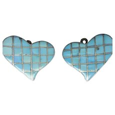 Clip-On Hearts FEDERICO JIMENEZ Sterling Silver Turquoise Flat Inlay Earrings