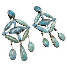 New Design FEDERICO JIMENEZ Sterling Silver Turquoise Cluster Dangle EARRINGS