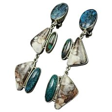 -Exceptional FEDERICO JIMENEZ Sterling Silver Turquoise and Wild Horse EARRINGS