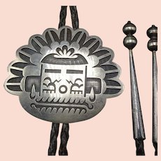 Vintage Hopi Sterling Silver Overlay Kachina Bolo Tie, Leather Cord 925 Tips