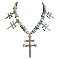 RARE 1930s - 1940s Ingot Silver Pueblo Double Bar Cross Necklace Turquoise Beads