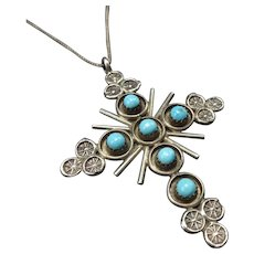 "Vintage Navajo Sterling Silver & Snake Eye Turquoise Cross PENDANT + 20"" Chain"