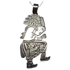 HUGE Floyd Becenti Navajo Sterling Silver Overlay Eagle Dancer Kachina PENDANT
