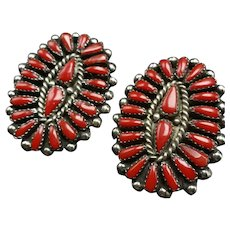 Huge VINTAGE Navajo Sterling Silver OXBLOOD Red Coral Cluster EARRINGS Pierced