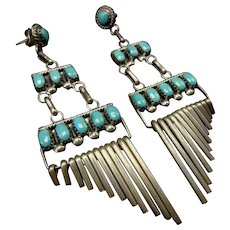 Signed Vintage Zuni Sterling Silver TURQUOISE Cluster Dangle Chandelier Earrings