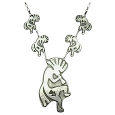 Vintage Navajo Sterling Silver Overlay KOKOPELLI Necklace with Handmade Links