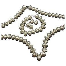 HAND-STAMPED Sterling Silver Navajo Pearls Set Necklace Bracelet Earrings 268g