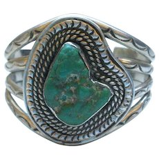 Heavy Vintage Navajo Sterling Silver TURQUOISE Cuff Bracelet Hand-Stamped 101g