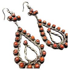 Old Vintage Zuni Sterling Silver & Coral Petit Point Dangle EARRINGS Snake Eye