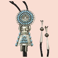 Vintage Navajo Sterling Silver KACHINA Turquoise Petit Point Cluster BOLO Tie