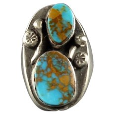 Vintage Navajo Heavy Gauge Sterling Silver Red MOUNTAIN TURQUOISE Ring size 11.5