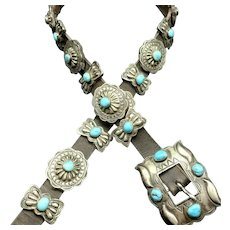 Vintage Michael Rogers PAIUTE Intricately Stamped Sterling Silver Turquoise BELT