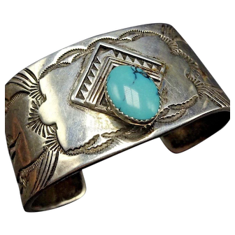 HEAVY Vintage Navajo Hand-Stamped Sterling Silver Turquoise Cuff BRACELET 132g