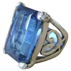 TAXCO Mexico Artisan Maria Elena Munoz Sterling Silver Blue CRYSTAL RING sz 7.25