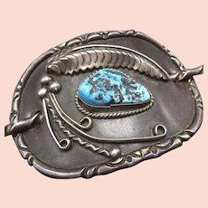 Vintage Navajo Sterling Silver Kingman TURQUOISE 2-Piece Hair BARRETTE w/ Stick