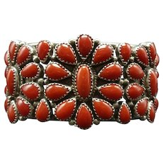 Vintage Navajo Sterling Silver Red MEDITERRANEAN Coral Cluster Cuff Bracelet