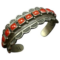 Vintage Navajo Hand-Stamped Sterling Silver and Red MED Coral ROW Cuff BRACELET