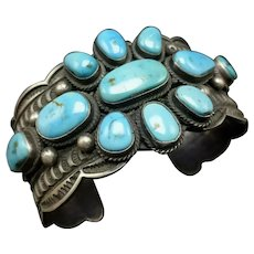 ANDY Man Vintage Navajo Hand-Stamped Sterling Silver Turquoise Cuff BRACELET