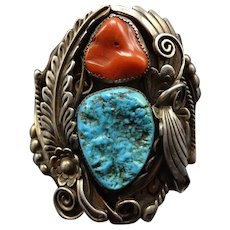 SPECTACULAR Vintage Navajo Sterling Silver TURQUOISE and Old Coral Cuff BRACELET