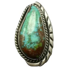 Vintage Navajo Sterling Silver Gorgeous Turquoise Pear-Shaped Cab RING size 5