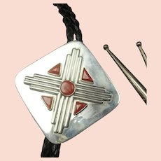 Vintage Navajo Sterling Silver Coral ZIA BOLO Tie, Leather Cord Sterling Tips