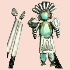 Extraordinary Navajo Sterling Silver TURQUOISE Kachina Bolo Tie Arrowhead Tips